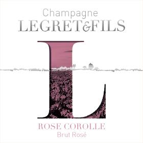 Étiquette champagne rosé corolle : assemblage de trois cépages