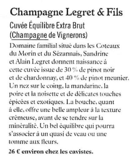 Article de Presse : Cuvée Equilibre, Champagne Legret & Fils