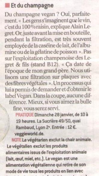 Article Le Progres : Présentation Champagnes vegans Legret & Fils